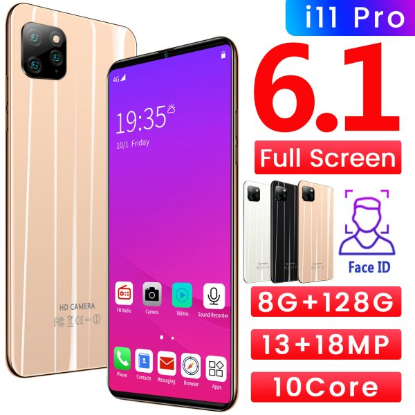 The best cellphone 2020 i11 Pro 6.1 | face recognition Unlocked | 8/128GB | 18MP Camera | 2020 | Black