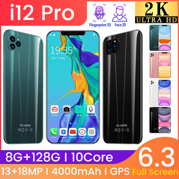 The best phone to buy for 2020 i12 pro 6.3inch   face recognition unlocked   8/128GB   18MP Camera   2020   Black