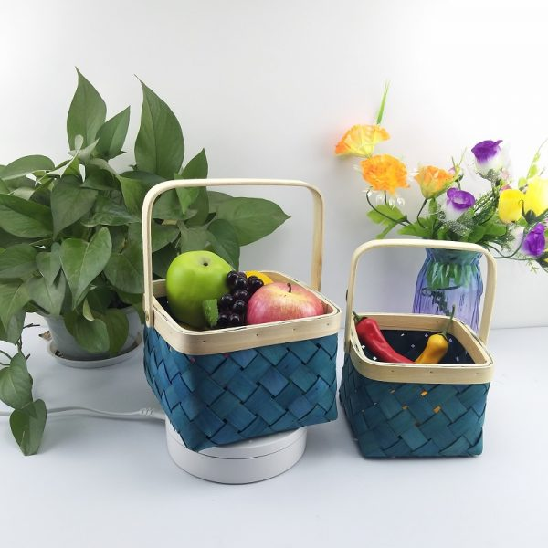 Colored wood chip fruit basket with handle for home storage