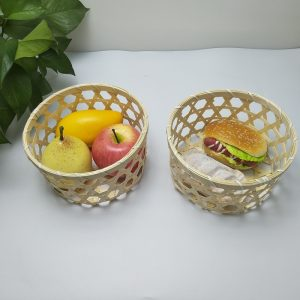 Hand-woven bamboo basket for fruit storage with large frame