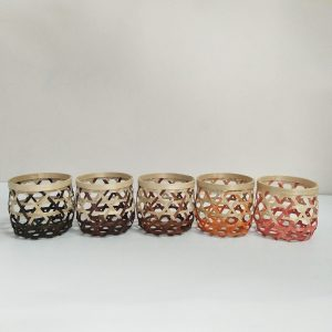 Hand-woven home storage bamboo basket candle holder basket