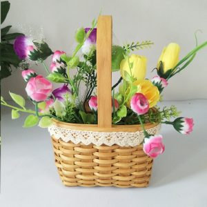 Hand-woven square flower baskets for decoration of wood chips