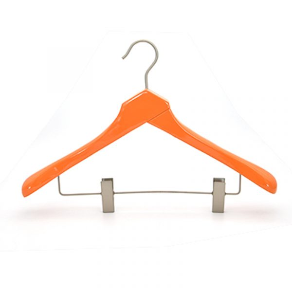 Natural Wood Clothing Drying Rack Anti-slip Wooden Hanger With Clips