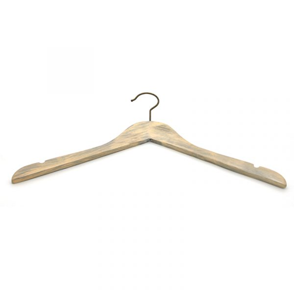 Curved Washed Gray Color Wood Hangers High Quality Hotel Wooden Hanger