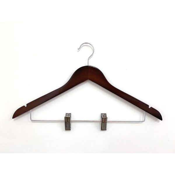Best selling flat style mahogany wooden clothes hanger with clips hotel wooden hanger