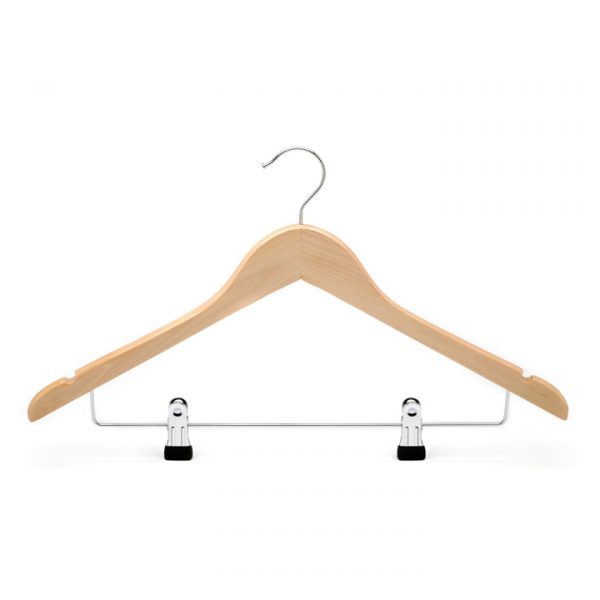 Natural wooden clothes hanger with clips